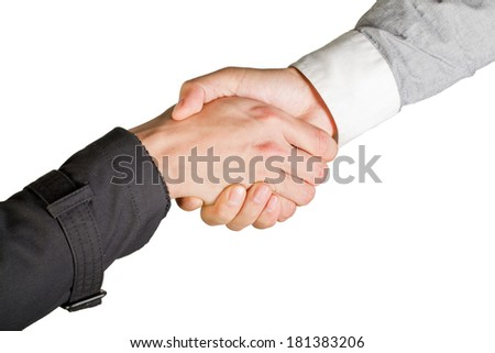 Hand shake between two businessmen isolated on white - stock photo