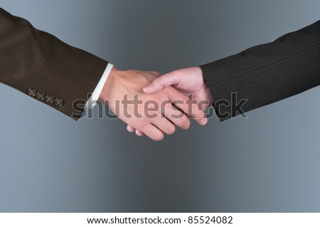 Hand shake of the business man and the woman - stock photo
