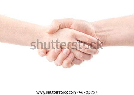 Hand shake on white isolated a background - stock photo