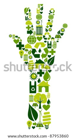 Hand shape made with environmental icons set. - stock photo