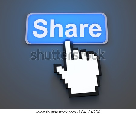 Hand Shaped mouse Cursor thumb up like man share good social media share 3d symbol icon button illustration