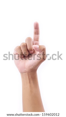 hand show touch on white backgrounds - stock photo