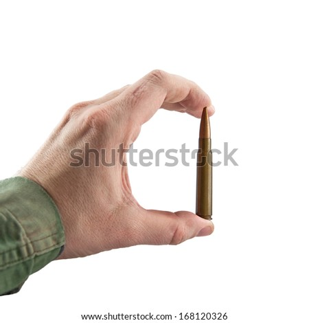 Hand showing a cartridge isolated on white background - stock photo