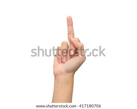 Hand showing a middle finger isolated on white background