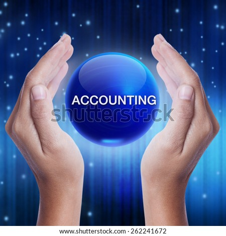 Hand showing blue crystal ball with advertising word. business concept - stock photo