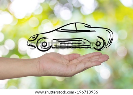 hand showing design sketch car as concept - stock photo