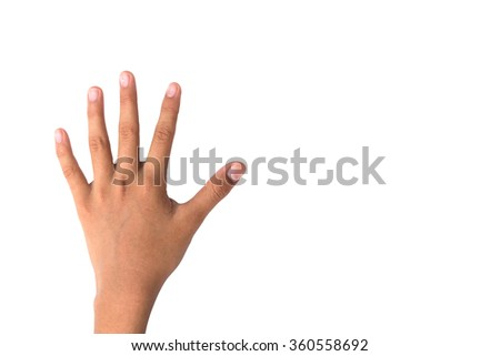 hand showing five count on white background have clipping path - stock photo