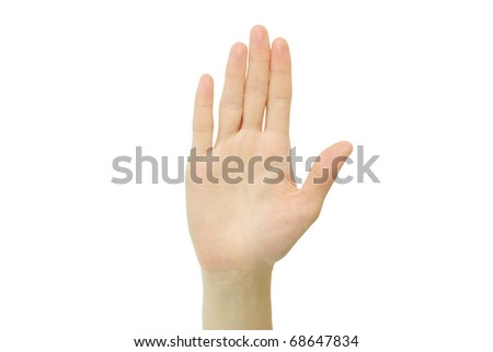 hand showing five fingers and the palm isolated on white