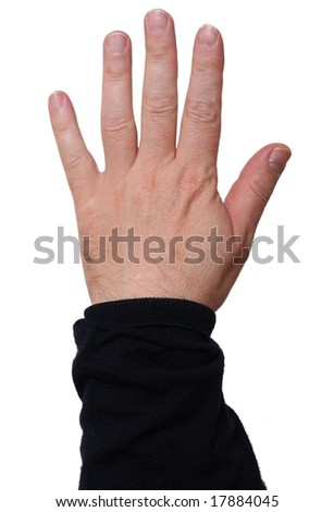 Hand showing five fingers; middle-aged skin type (around 50); white background - stock photo