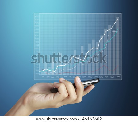 hand showing graph on generic smarphone, isolated on white