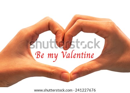 hand showing heart shape gesture. Isolated on white. valentine concept.  - stock photo