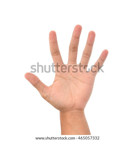 Hand showing isolated on a white background.