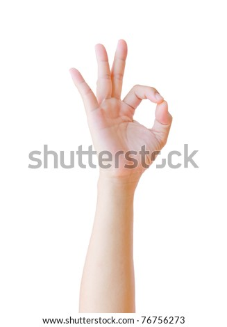 hand showing OK sign isolated - stock photo