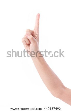 hand showing, pointing up 1 finger gesture