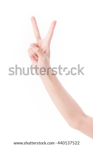 hand showing, pointing up 2 fingers, victory hand gesture - stock photo