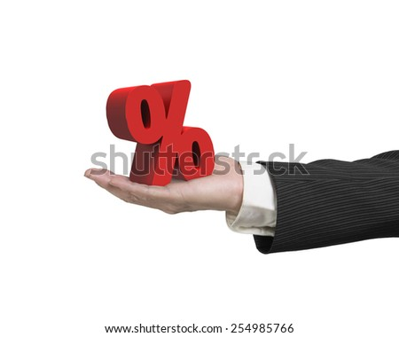 Hand showing red percentage sign isolated on white background - stock photo