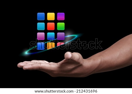 Hand showing the apps icon