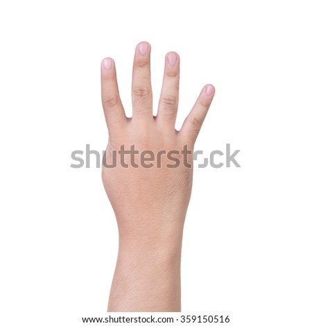 hand showing the four fingers isolated on a white background - stock photo