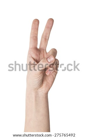 hand showing the sign of victory and peace closeup isolated on white - stock photo