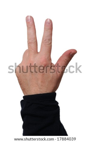 Hand showing three fingers; middle-aged skin type (around 50); white background - stock photo