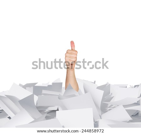 hand showing thumb up in papers heap on white background - stock photo