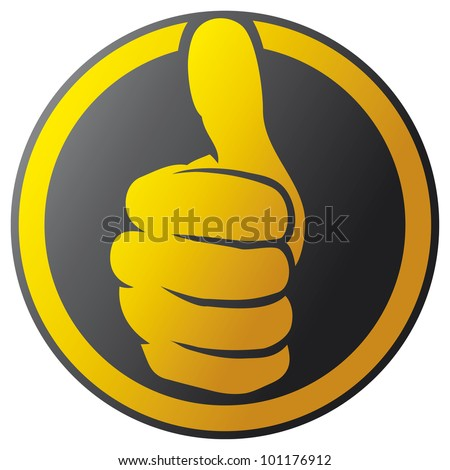 hand showing thumbs up button (hand showing thumbs up icon) - stock photo