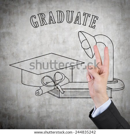 hand showing two finger and drawing education object - stock photo
