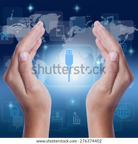 Hand showing usb flash drive icon symbol on screen. business concept - stock photo