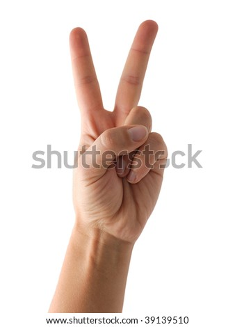 Hand showing victory sign or counting two isolated on white - stock photo