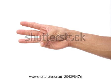 Hand shown three finger symbol on isolated white background for graphic designer - stock photo