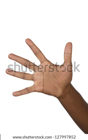 Hand shows five fingers, studio shot, isolated - stock photo