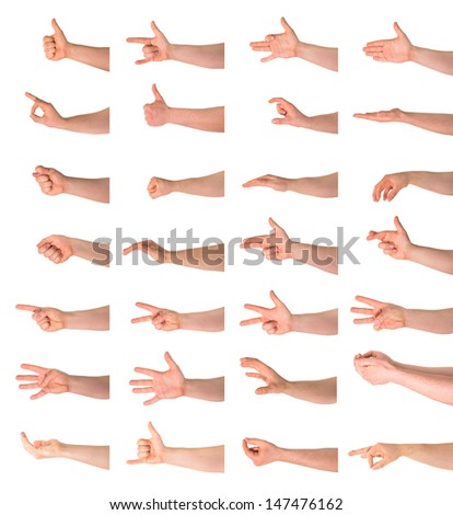 Hand sign and gesture collection isolated over white background, set of twenty eight - stock photo