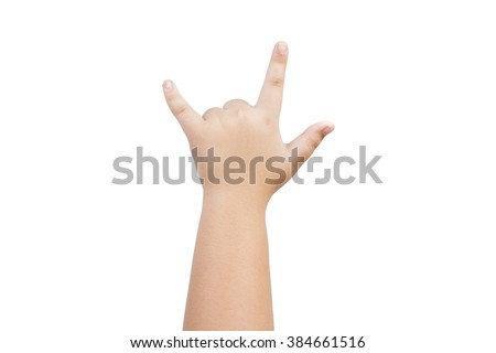 hand sign in i love you isolated on white background - stock photo