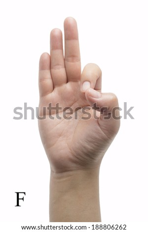 Hand sign language alphabet isolated on white