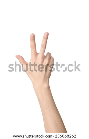 hand sign of number three, isolated on white