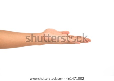 Hand sign open hand on white background