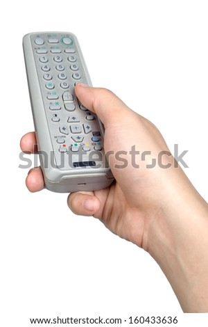 hand sign posture hold remote in isolated - stock photo