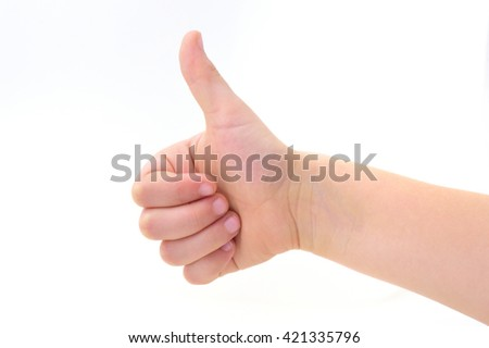 Hand Sign showing thumbs up - stock photo