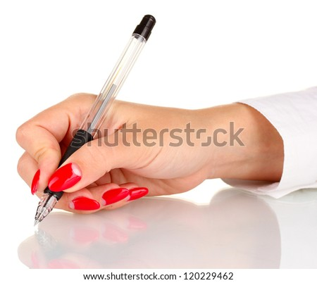 Hand signing with pen isolated on white