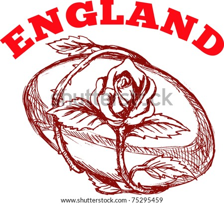 """hand sketched drawing illustration of rugby ball with rose flower vine entwined on isolated background with words """"England"""" - stock photo"""