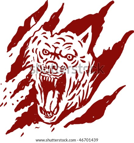 hand sketched drawing of an Angry wolf inside paw tear scratch marks - stock photo