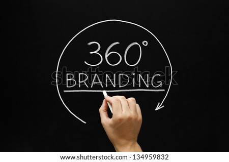 Hand sketching 360 degrees Branding concept with white chalk on a blackboard. - stock photo