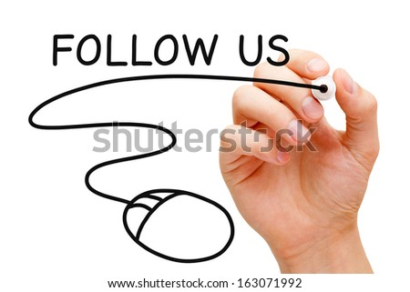 Hand sketching Follow Us concept with black marker on transparent wipe board. - stock photo