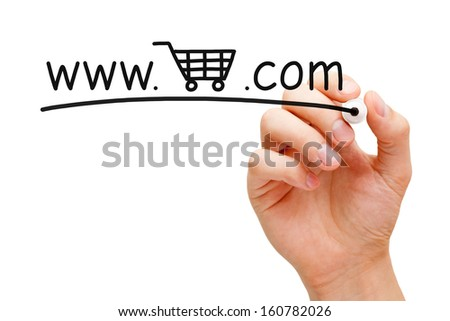 Hand sketching Online Shopping Cart Concept with black marker on transparent wipe board.  - stock photo