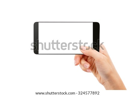 hand smartphone Isolated on white background Clipping Path - stock photo