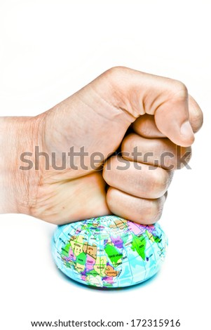 hand smashing the globe / love the world / care the earth