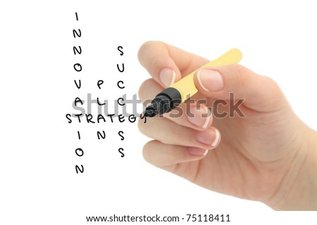 Hand solving a strategy plan to be successful in her business - stock photo