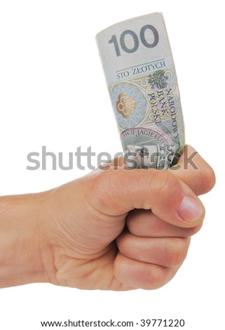 Hand squeezing banknote isolated
