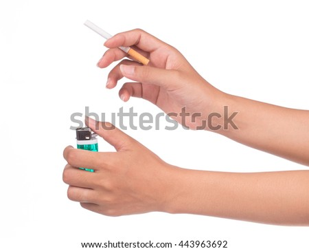 hand starting smoking holding Iorn lighter and cigarette isolated on white background.