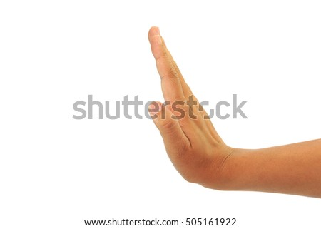 hand stop palm gesture isolated over the white background